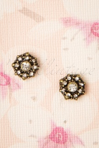Mini Floral Frosted Stud Earrings Années 50 en Doré