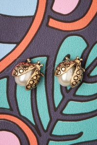 50s Lady Bug Stud Earrings in Gold