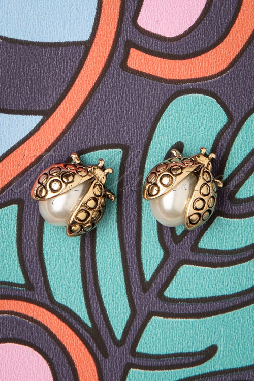 Louche 30054 Earrings Oren Ladybug Gold Pearl 10172019 006W