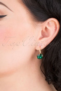 Lovely 31366 Cushion Stone Earring Emerald 041M W
