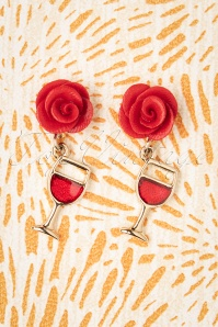 Rose Wine Glass Earrings Années 50 en Rouge et Doré