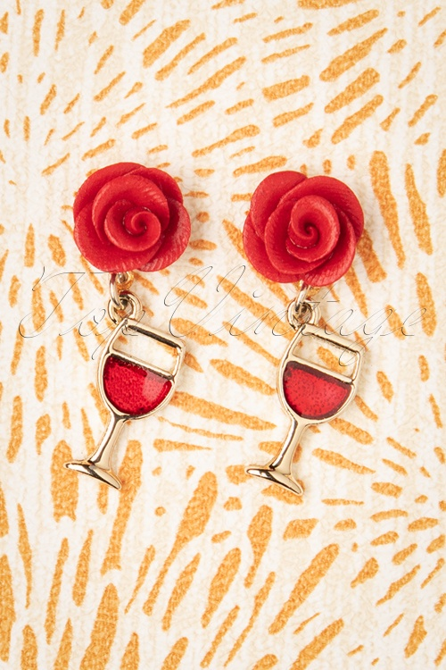 Verry Cherry 32321 Earrings Rose Wineglas Gold 10172019 007W