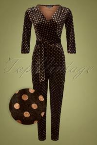 60s Jaime Polkadot Jumpsuit in Black and Brown