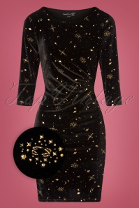 Smashed Lemon 50s Susy Stars Velvet Pencil Dress in Black