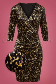 50s Daysie Velvet Pencil Dress in Leopard