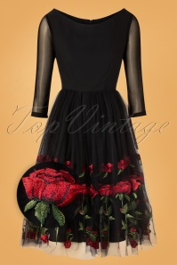 Belsira 50s Kathlynn Roses Swing Dress in Black