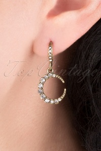 20s Crystal Moon Earrings in Gold