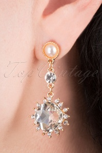 Merari Crystal Drop Earrings Années 50 en Doré