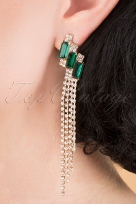 Louche 30065 Padon Long Earrings Gold Green 040M W   kopie