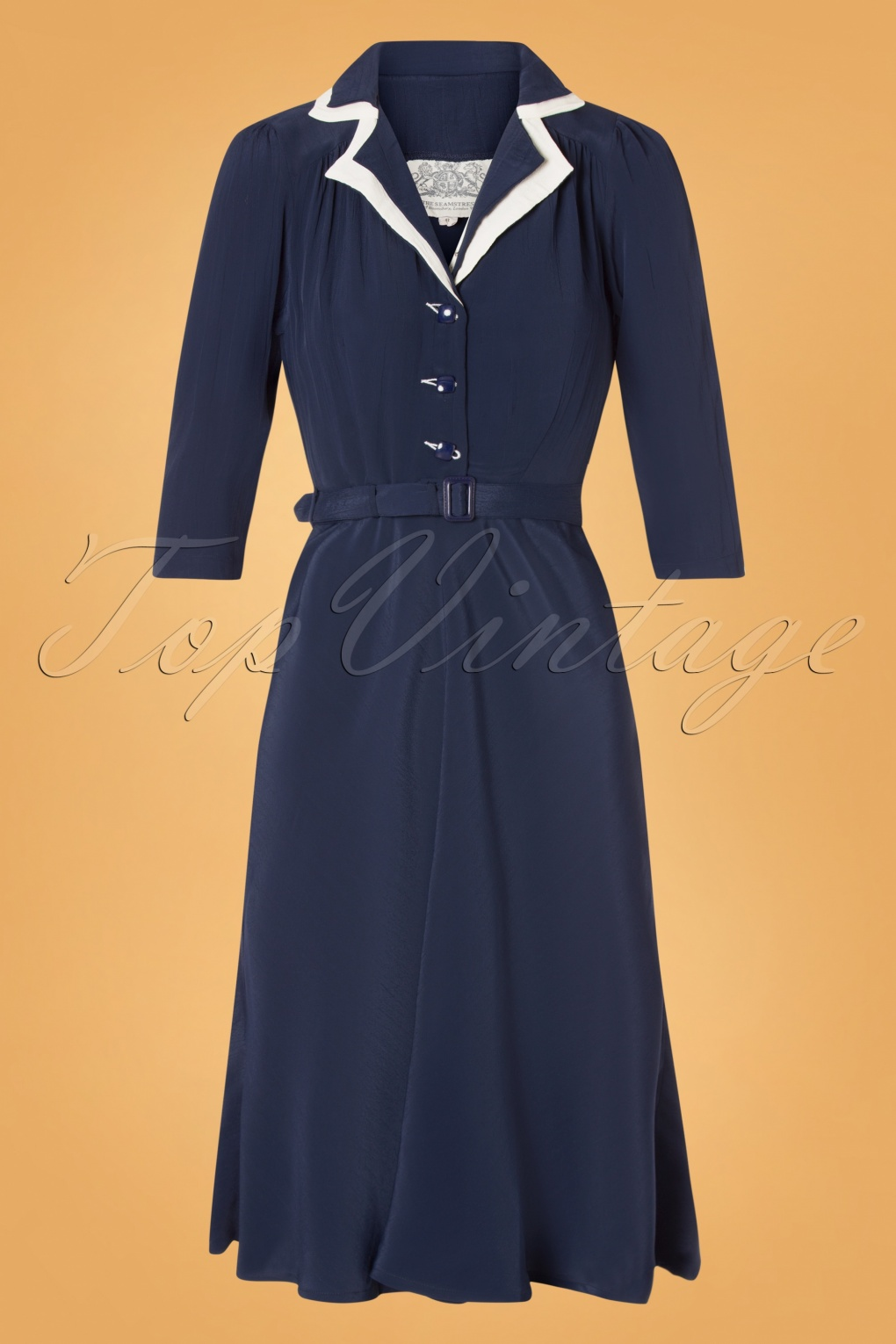 1940s Dresses | 40s Dress, Swing Dress 40s Lisa Mae Dress in Navy and Cream £71.55 AT vintagedancer.com