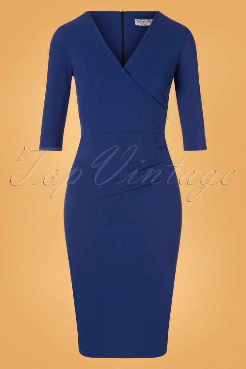 50s Madison Pencil Dress in Royal Blue