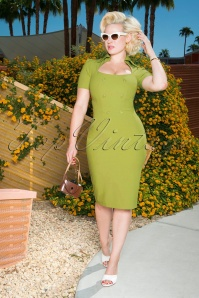 Glamour Bunny 26376 Rita Rae Pencil Dress in Green 121017 0013W