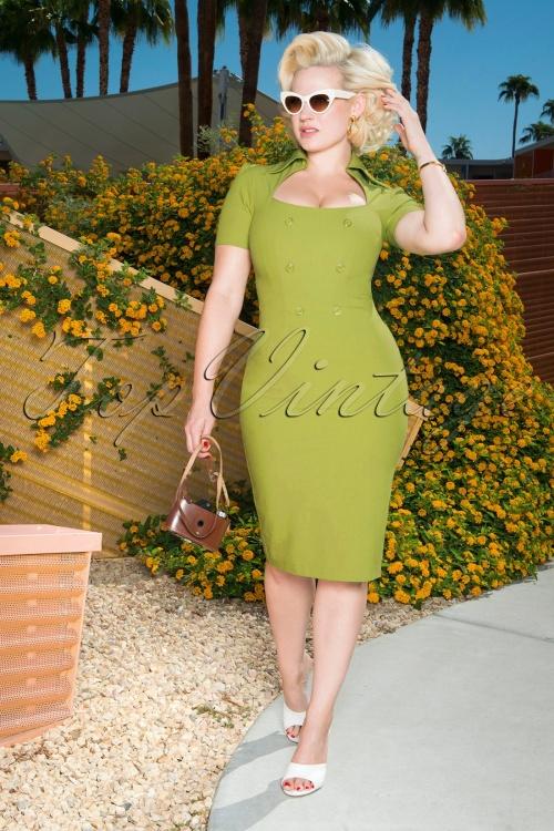 Glamour Bunny 26376 Rita Rae Pencil Dress in Green 121017 0013W