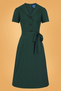 Collectif 29912 Hattie Flared Dress in Green 021LW