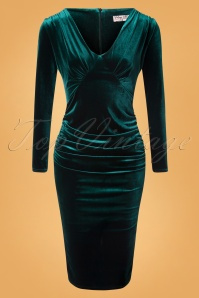 Vintage Chic 31533 Pencildress Bottle Green Velvet 10242019 005W