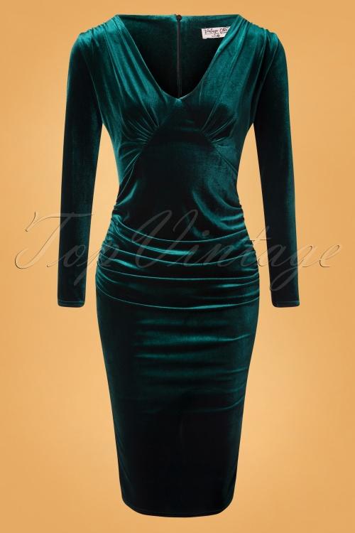 Vintage Chic 31533 Pencildress Bottle Green Velvet 10242019 005W