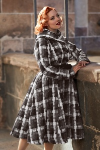Limited Edition ~ 50s Teagan Olive Plaid Swing Coat in Black and Grey