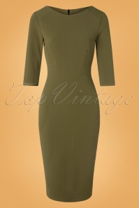 Joanna Pencil Dress Années 50 en Kaki