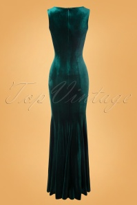 Vintage Chic 28022 Maxidress Bottle Green Velvet 10242019 010W