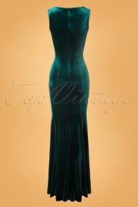 Vintage Chic 28022 Maxidress Bottle Green Velvet 10242019 010W