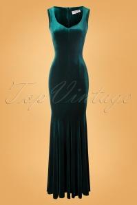 Mila Velvet Maxi Dress Années 50 en Vert Bouteille