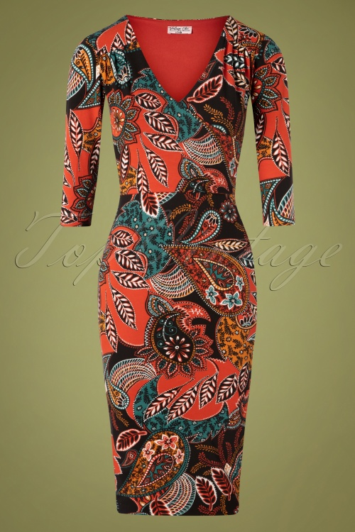 Topvintage Boutique 32881 Pencildress Viscose Nature Orange 10242019 001W