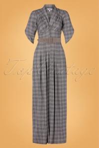 Miss Candyfloss 31053 Jumpsuit Grey Tartan 07112019 000005W