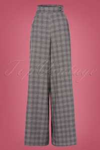 50s Maelys Silvy High Waist Trousers in Grey Check