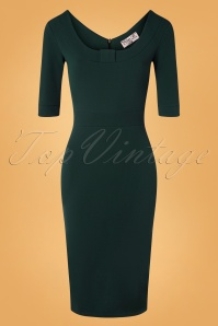 Vintage Chic 32110 Pencildress Green Big Bow 10242019 002W