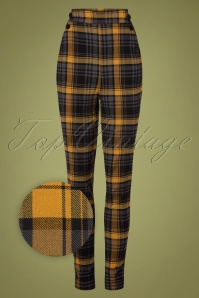 50s Luca High Waist Tartan Pants in Mustard and Grey