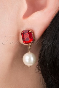 50s Regal Stone and Pearl Earrings in Ruby Red