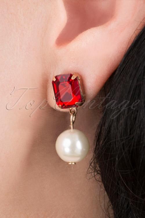 Lovely 31370 PearlStone Ear Ruby 041M W