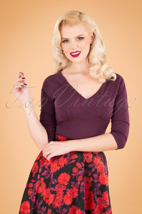Banned 30665 50s Betty Top in Burgundy  20190626 040MW