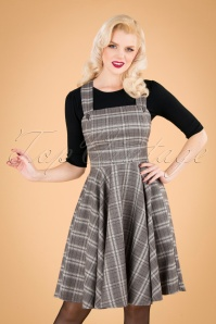 40s Frostine Pinafore Tartan Dress in Grey