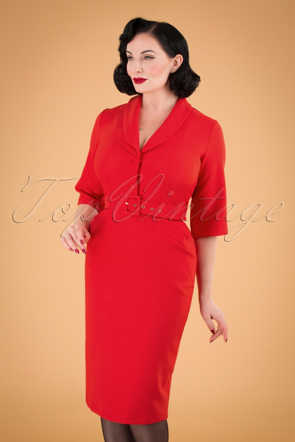 Wiggle Dresses | Pencil Dresses 40s, 50s, 60s 60s Sherri Pencil Dress in Bright Red £67.52 AT vintagedancer.com