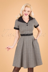 Happy Check Diner Dress Années 50 en Gris