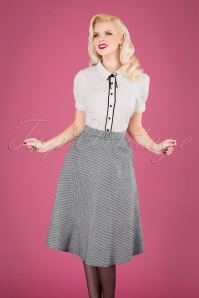 60s Hetty Houndstooth Swing Skirt in Black and White