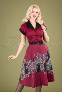 50s Black Cat Bloom Swing Dress in Maroon