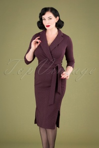 60s Winona Wrap Pencil Dress in Maroon Purple