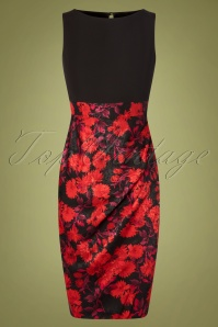 Denice Floral Pencil Dress Années 60 en Noir