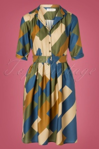 Palava 60s Cynthia Bauhaus Dress in Green