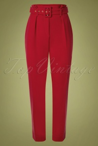 Closet London Dorris Trousers Années 60 en Rouge Vif