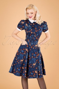 Collectif Clothing 50s Peta Forest Friends Swing Dress in Blue