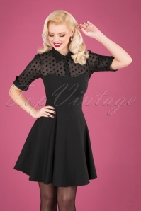 Collectif Clothing Wednesday Skater Dress Black Polkadot 102 10 24903 20181105 040MW