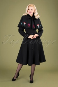 40s Claudia In Wonderland Coat And Cape in Black Wool