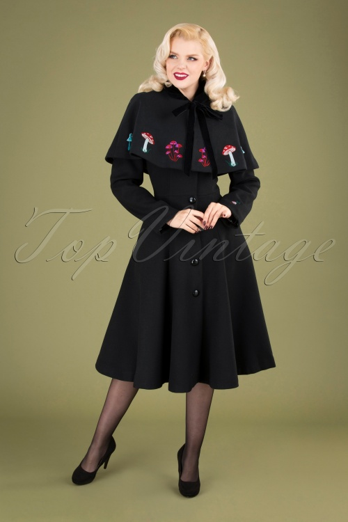 Collectif 29900 Claudia in Wonderland Coat and Cape in Black 20191001 040MW