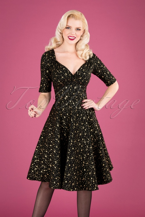 Collectif Clothing Black 50s Trixie Atomic Star Doll Dress 102 14 24904 20181029 040MW