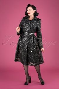 Lucinda Lace Raincoat Années 50 en Noir