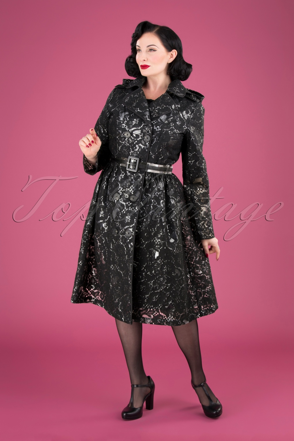 Vintage Coats & Jackets | Retro Coats and Jackets 50s Lucinda Lace Raincoat in Black £166.13 AT vintagedancer.com