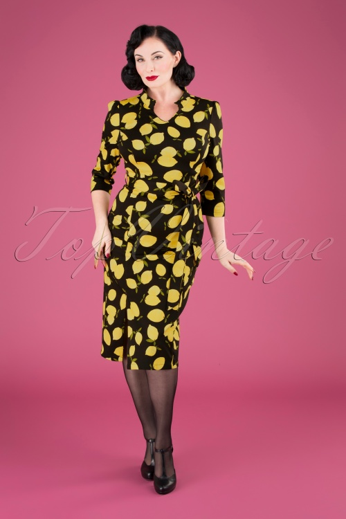 Hearts and Roses 31109 Pencil Dress in Lemon Print 20190924 040MW